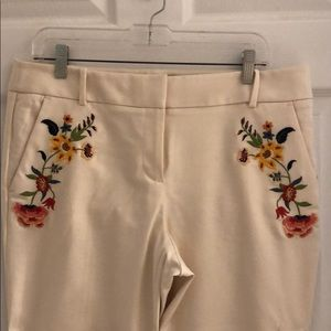 EUC- LOFT Embroidered Riviera Pants